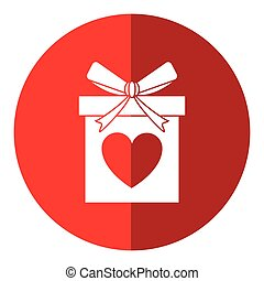 love gift box bow wrapped shadow vector illustration eps 10