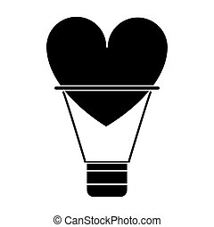silhouette airballon heart love romantic classic vector...