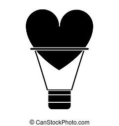 silhouette airballon heart love romantic classic vector...