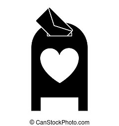 silhouette love mail post box message valentine