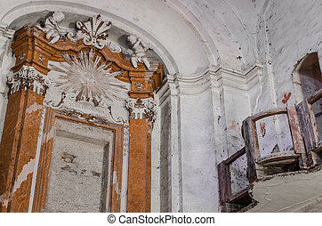 decorated walls in decayed church - decorated walls in old...