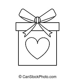 love gift box bow wrapped line vector illustration eps 10