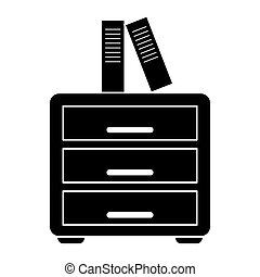 silhouette file cabinet folder archive workplace vector...