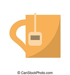 cup tea hot break office work vector illustration eps 10