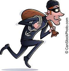 Thief Running With Bag of Loot - Cartoon of a thief type...