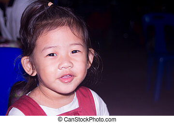 asian Little Girl Smiling, children smile close up