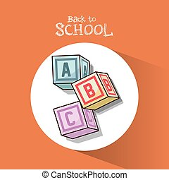 back to school alphabet cubes object