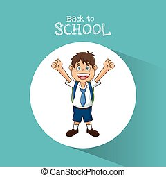 back to school student boy happy bag tie and short vector...