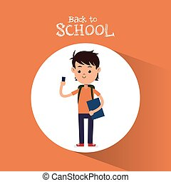 back to school boy student with smartphone bag and book