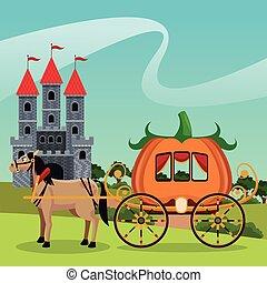 castle with pumpkin carriage horse landscape