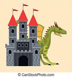 big castle dragon medieval