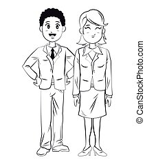 man and woman business team work outline