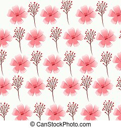 pink flower foliage decorative seamless pattern