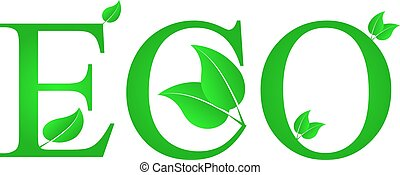 lustration of green leaves with ECO text