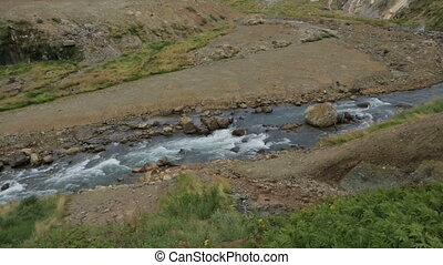 Geysernaya River in Valley of Geysers stock footage video -...