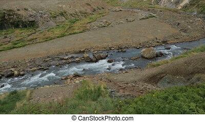 Geysernaya River in Valley of Geysers stock footage video -...