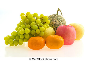Mixed fruit isolated on white background - Healthy food