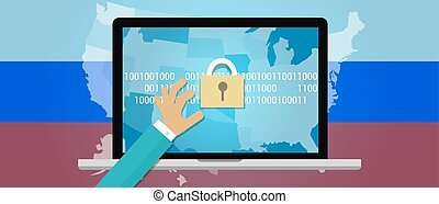 Concept of hacking Russia in the United States vector...