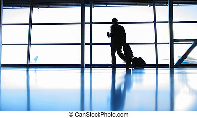 kawa, sylwetka, -, lotnisko, dowódca, iść, Samolot,...
