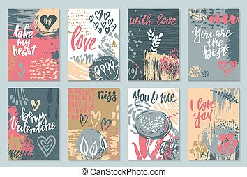 Collection of romantic and love cards with hand drawn...