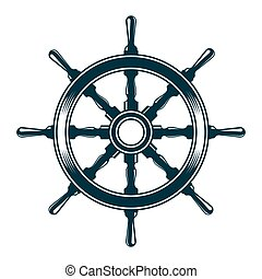 ship steering wheel - Ship steering wheel. Vintage vector...