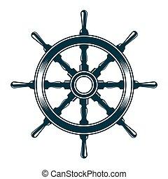 ship steering wheel - Ship steering wheel. Vintage vector...