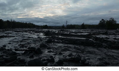 Studenaya River at dusk. Kamchatka Peninsula in the summer.