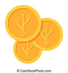 Golden Cryptocurrency Vector Icon - Cryptocurrency icon for...