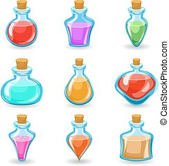 magic beverages potions poisons icons set isolated cartoon...