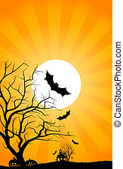 Halloween night background with tree house moon bat and...