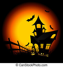 Halloween night background with pumpkin bat and house