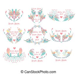 Set of 9 floral frames. Ornamental borders with flowers. Decorative colorful elements