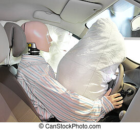 mannequin in a car - The image of mannequin in a car after...