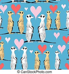 Seamless pattern of funny meerkat lovers on a blue...