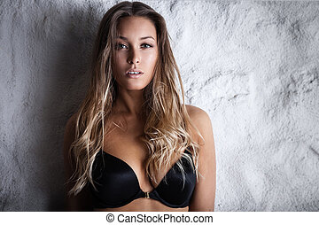 Woman in black lingerie - Fashion portrait of beautiful...