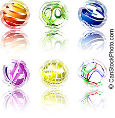 Abstract Globes - Set of 6 abstract globes