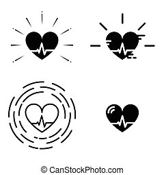Blood Pressure Vector Icons. Heart Cheering Cardiogram -...