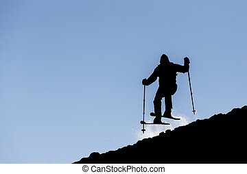 Freestyle skiing silhouette