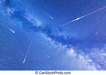 Perseid Meteor Shower in 2016. Falling stars. Milky Way - A...