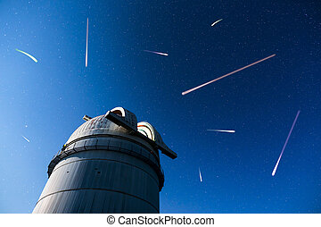 Astronomical Observatory under the night sky stars - Rozhen...