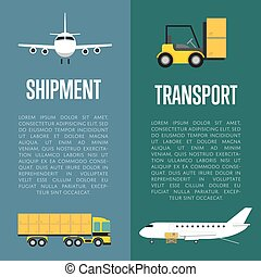 Shipment and transport flyers set