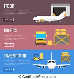 Logistics and freight transportation banner set