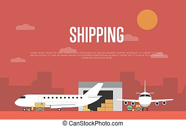Commercial air shipping service banner vector illustration....