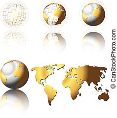 Golden Globes - Set of shiny golden globes