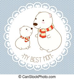 Vector background with cute polar bear