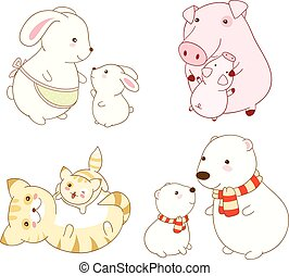 Collection of cartoon animals in kawaii style - Set of cute...