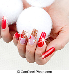red nails decorated for your fantastic Christmas - nails...