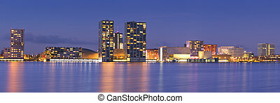Skyline of the city of Almere in The Netherlands - The...