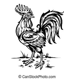 illustration of a cock. Rooster symbol 2017 year