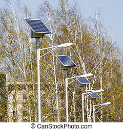 Street lamps with solar panels. Square image. - Street lamps...